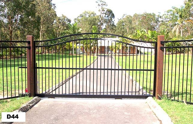 Large black roll top gates