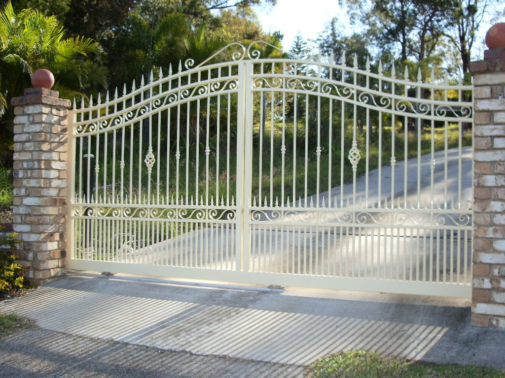 Large white roll top gates