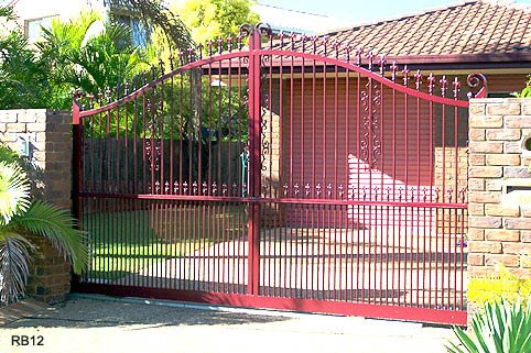 Large red custom raby bay gates