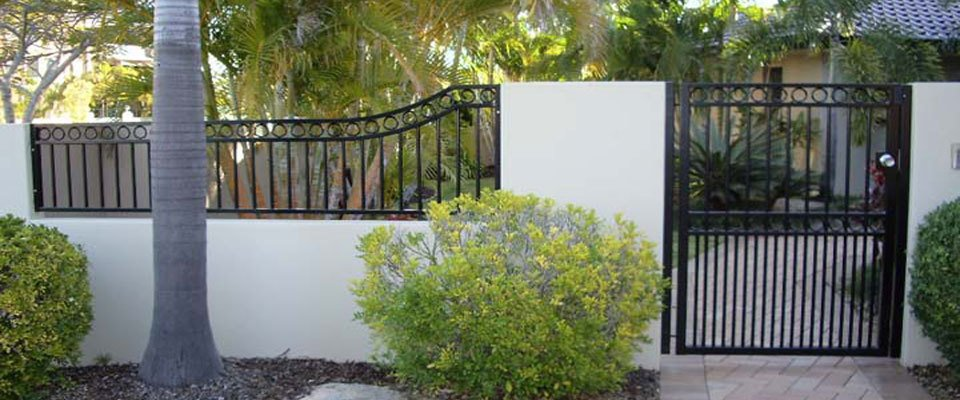 Black colour fence and  gate for the customer residence