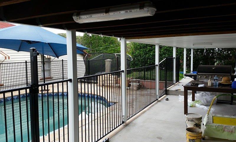 verandah with aluminium fence
