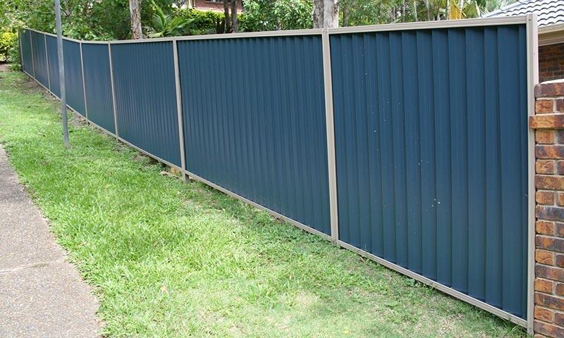 blue metal fencing