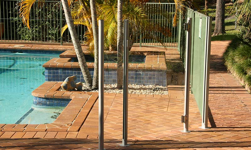 pool fence around tiled area