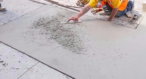 Finishing work being done on concrete