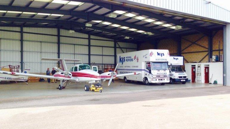 company vehicles at warehouse
