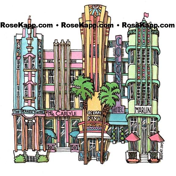 Miami Beach, pen&ink