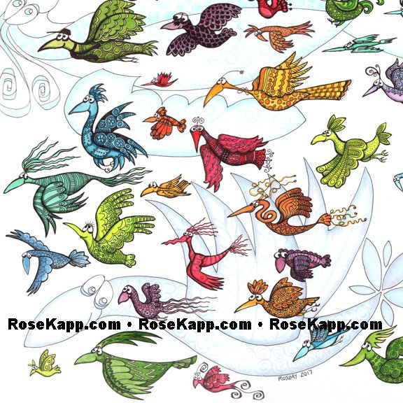 Worry birds, flock