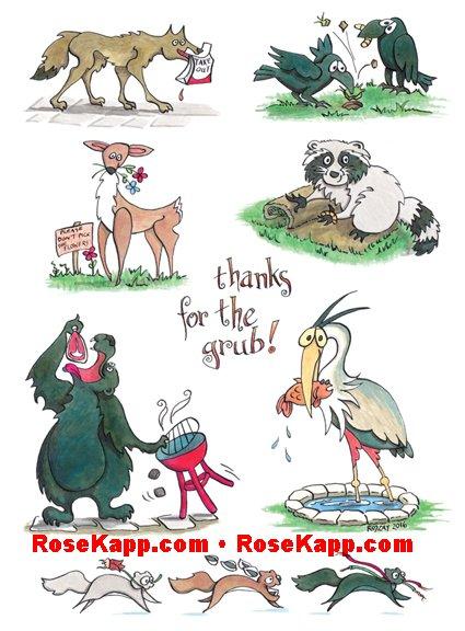 cartoon, bear, squirrels, grubs, crows, heron