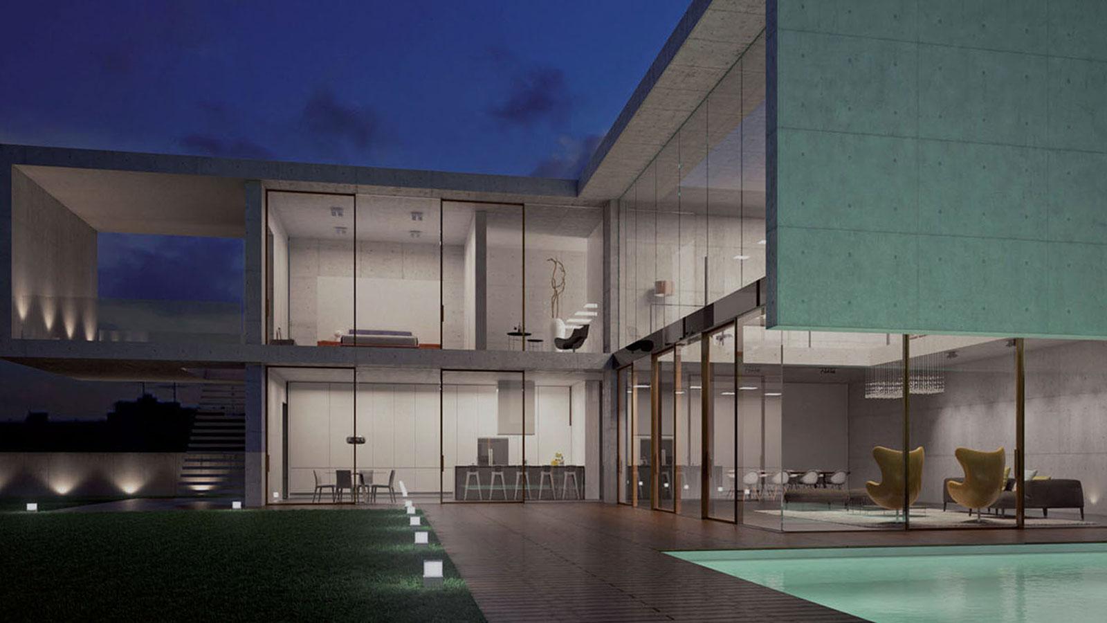 vista angolare di un albergo con piscina