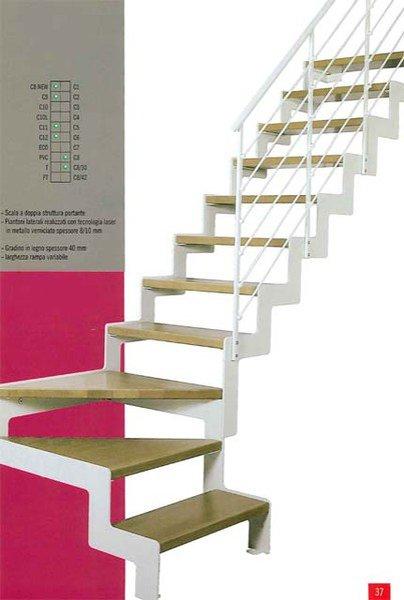 scala in legno bianca