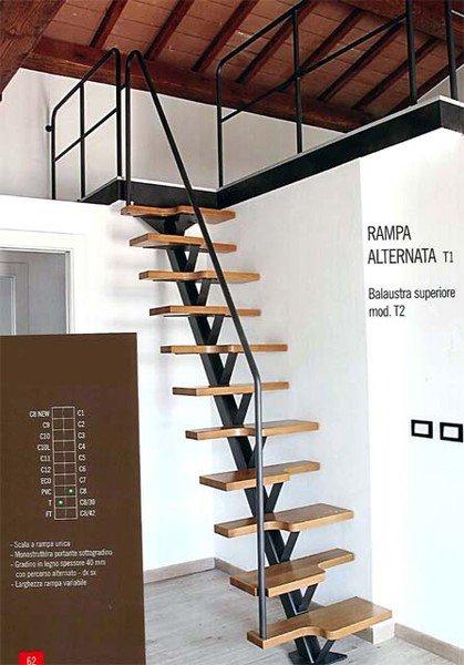 vista di una scala in legno