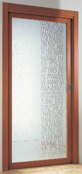 una porta in vetro carta di riso