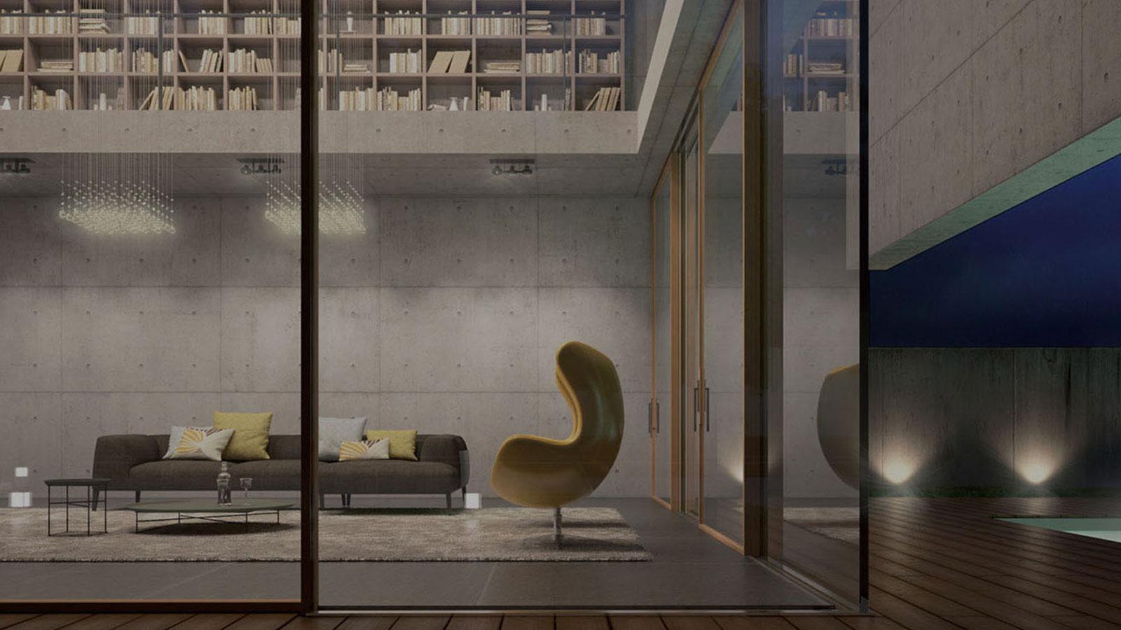 vista interna di una sala con scaffale per libri