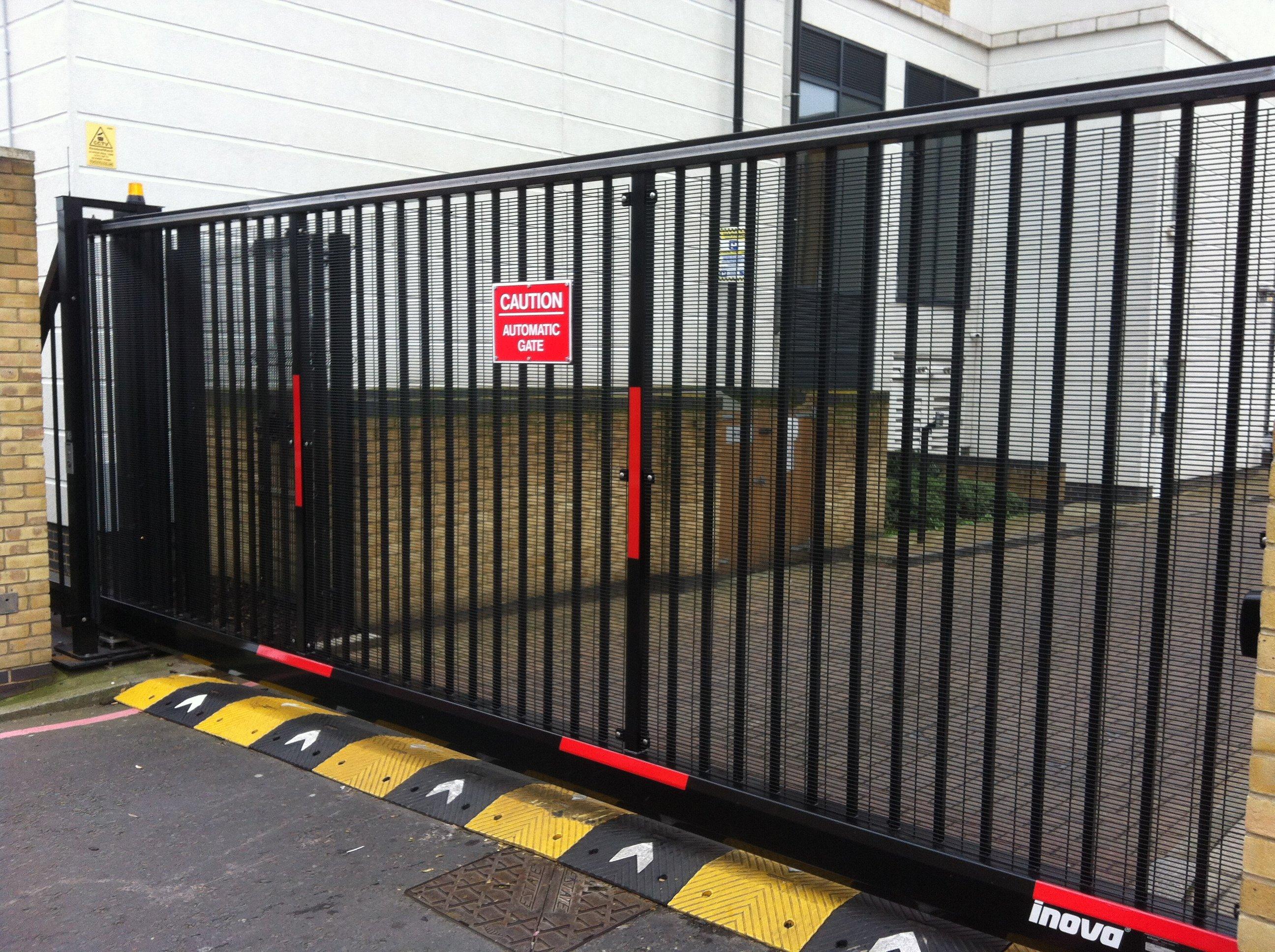black sliding gate