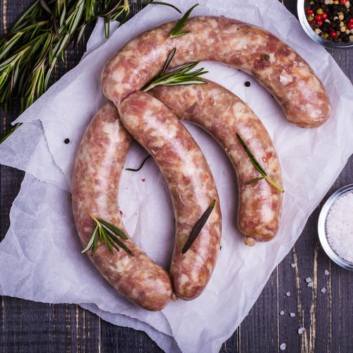 Delicious sausages with herbs from our store
