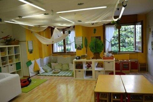 Uno spazio per bambini con angolo morbido.