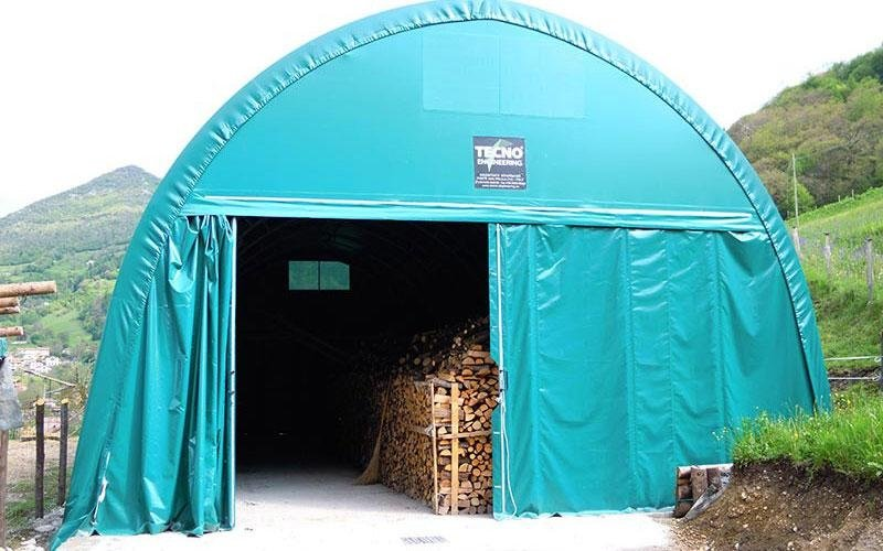 Light blue shed