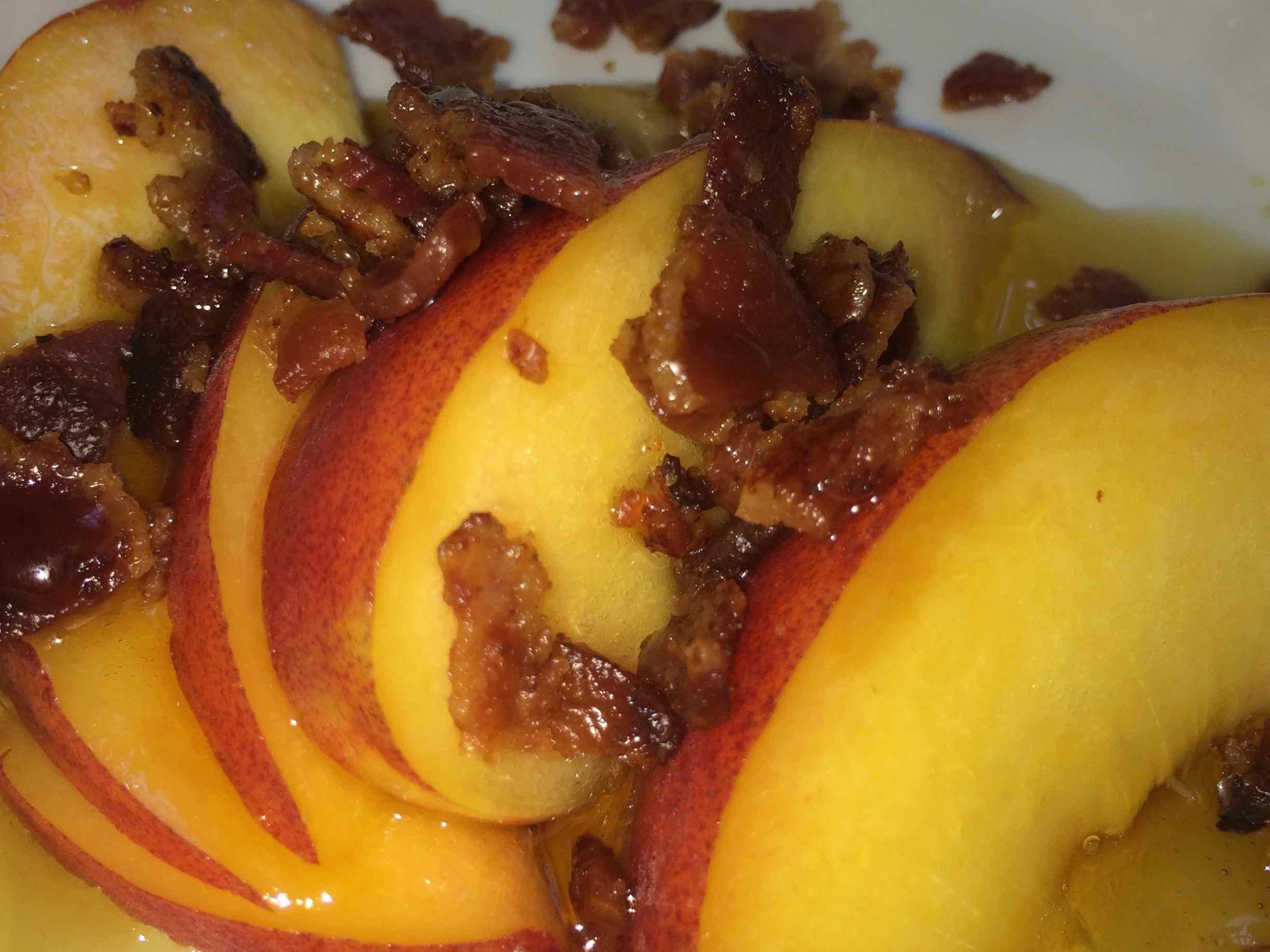 Breakfast at Coach Stop Inn Bed and Breakfast - Peach slices with candied bacon bits