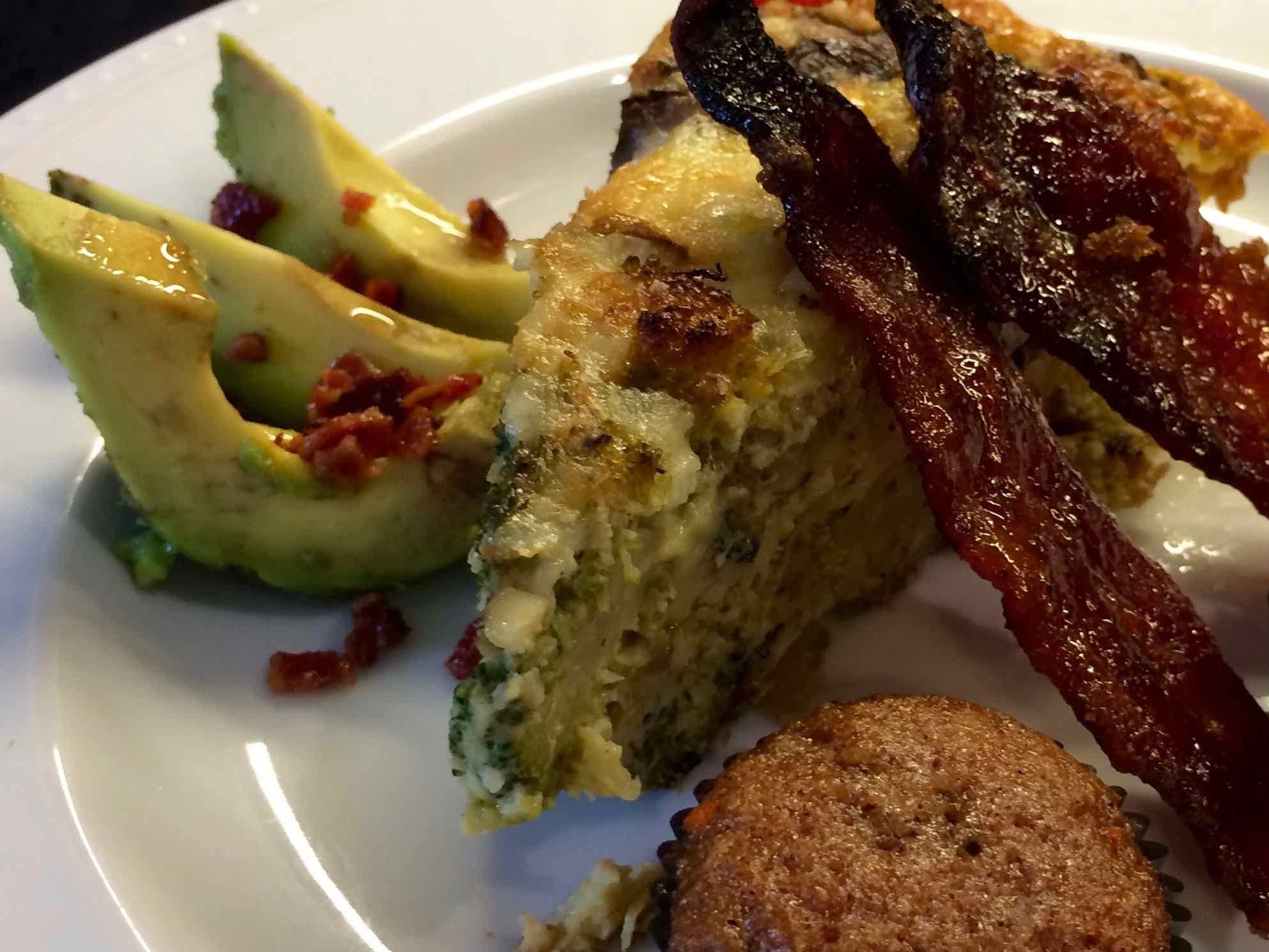 Breakfast at Coach Stop Inn - vegetable frittata with candied bacon and avocado