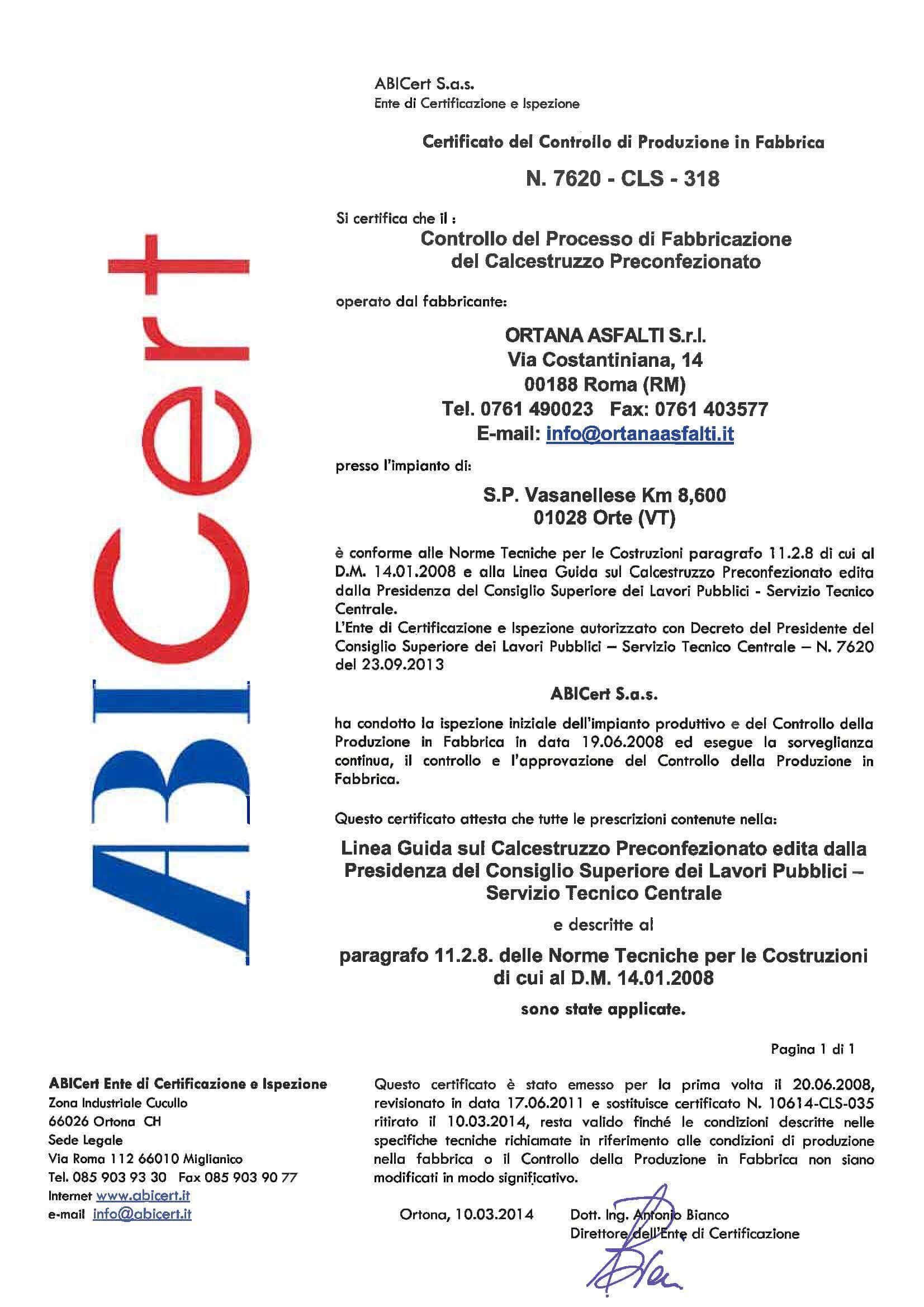 ABI Cert Certificate