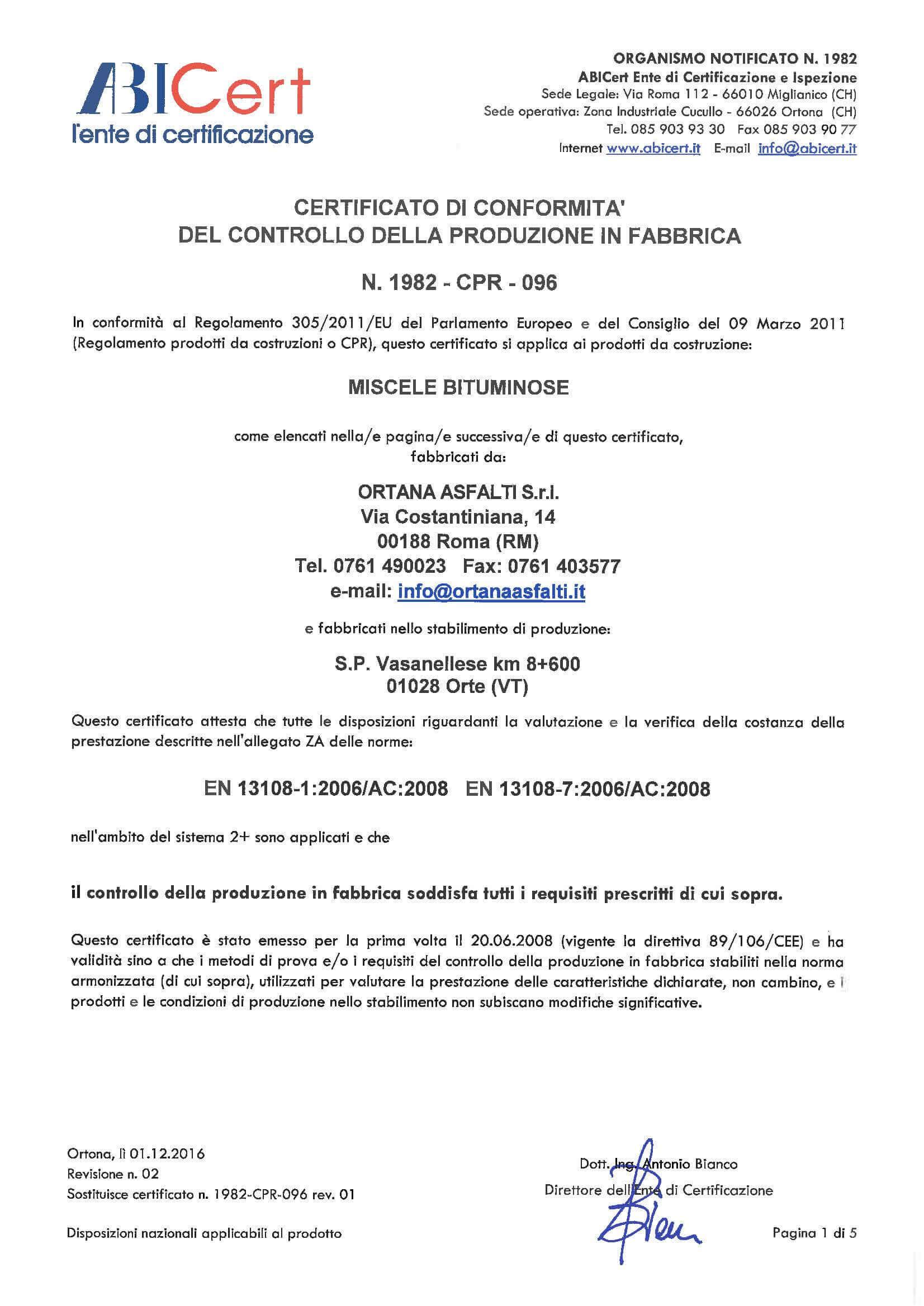 ABI Cert Certificato di conformita del controllo della produzione in Fabrrica 1/5