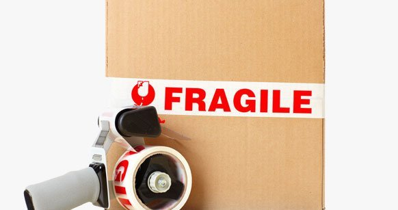 Fragile logos on side of box