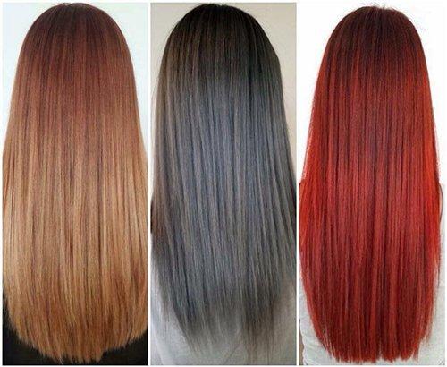 Tre campionari di capelli con colorazione rossa, grigia e  arancione