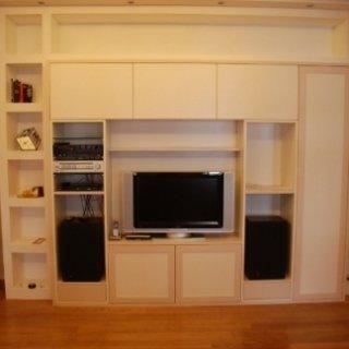 mobile stereo, mobile tv moderno, libreria con tv