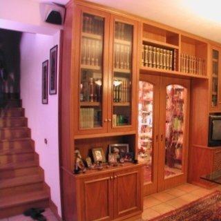 legno e vetro, libreria con porta incassata, porta a due ante in vetro