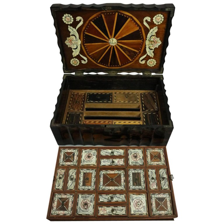 Anglo Indian 19th Century Bone Inlaid Coromandel Wood Anglo Indian Locking Sewing Box | Antique Revival Ithaca, Watkins Glen, Corning, NY