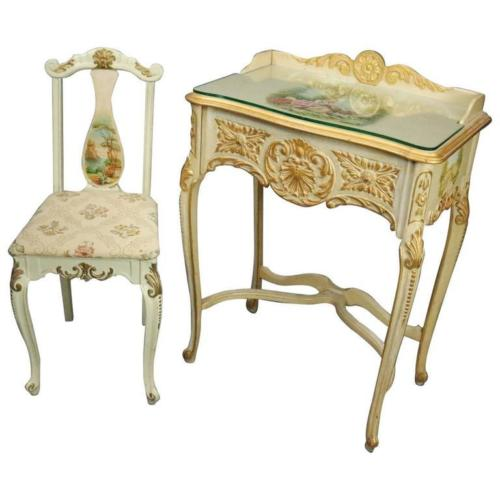 French 1880's Provincial Vernis Martin Painted Lady's Desk & Chair | Antique Revival Ithaca, Watkins Glen, Corning, NY