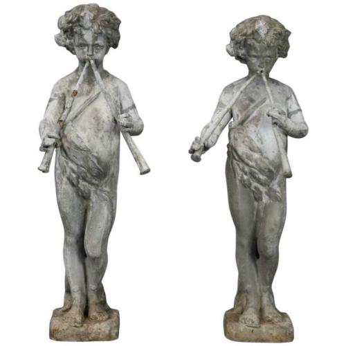 French 1880's Lead Garden Fountain Figures of Classical Pan | Antique Revival Ithaca, Watkins Glen, Corning, NY