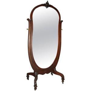 New York 1910's R.J. Horner Art Nouveau Carved Mahogany Cheval Dressing Mirror | Antique Revival Ithaca, Watkins Glen, Corning, NY