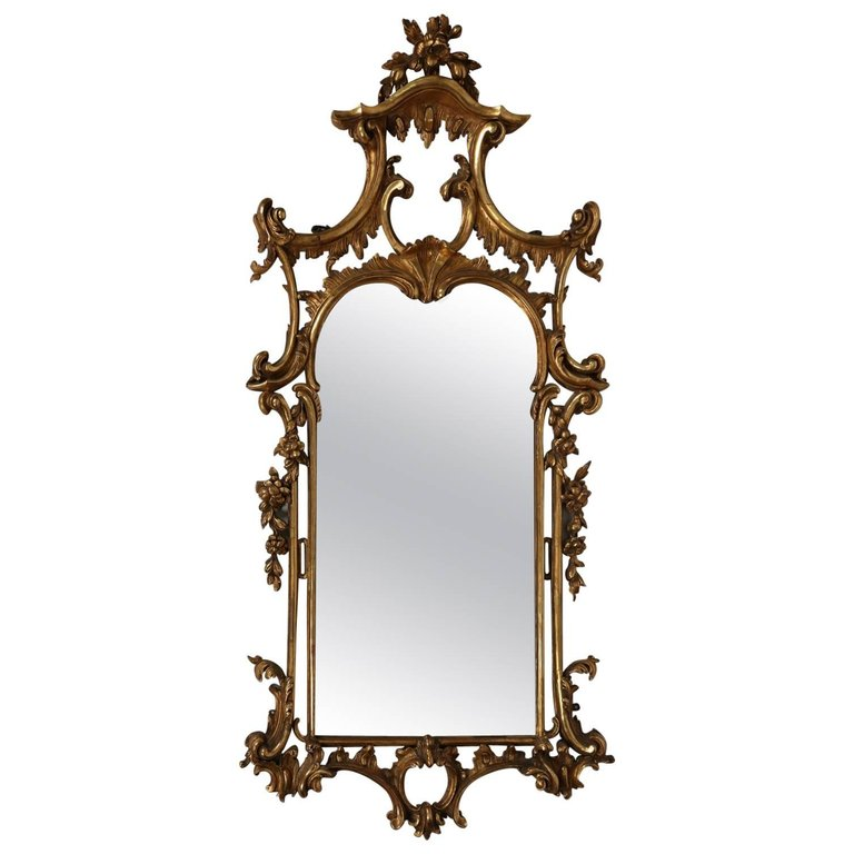 Chinese chippendale pierced glitwood mirror