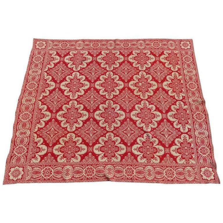 Loom Woven Red and White Floral Jacquard Coverlet, 19th Century
