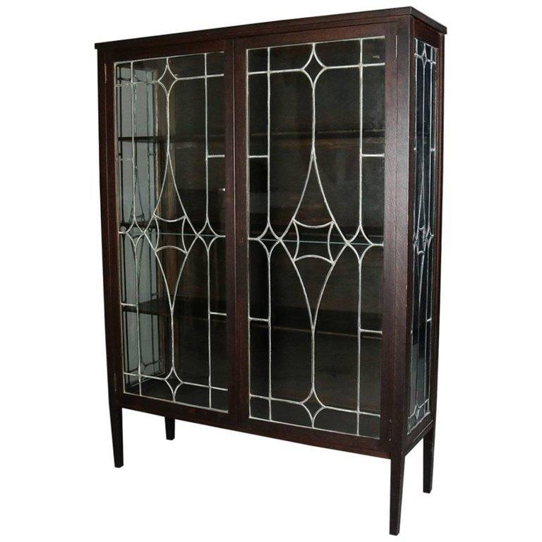 Mission Oak Leaded Glass Bookcase