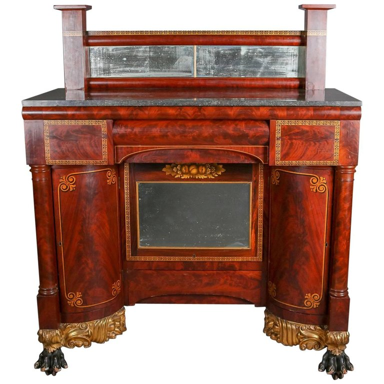 pier table flame mahogany antique claw foot gilt mirror