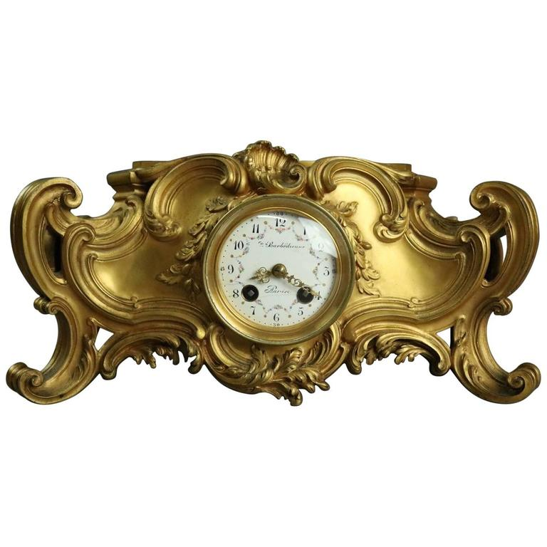 Gilt Bronze clock mantel barbedienne  shop