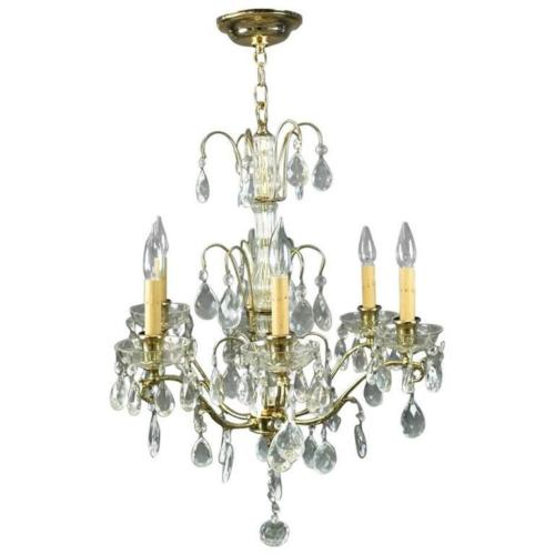French 1950's Six Light Bronze and Cut Crystal Chandelier