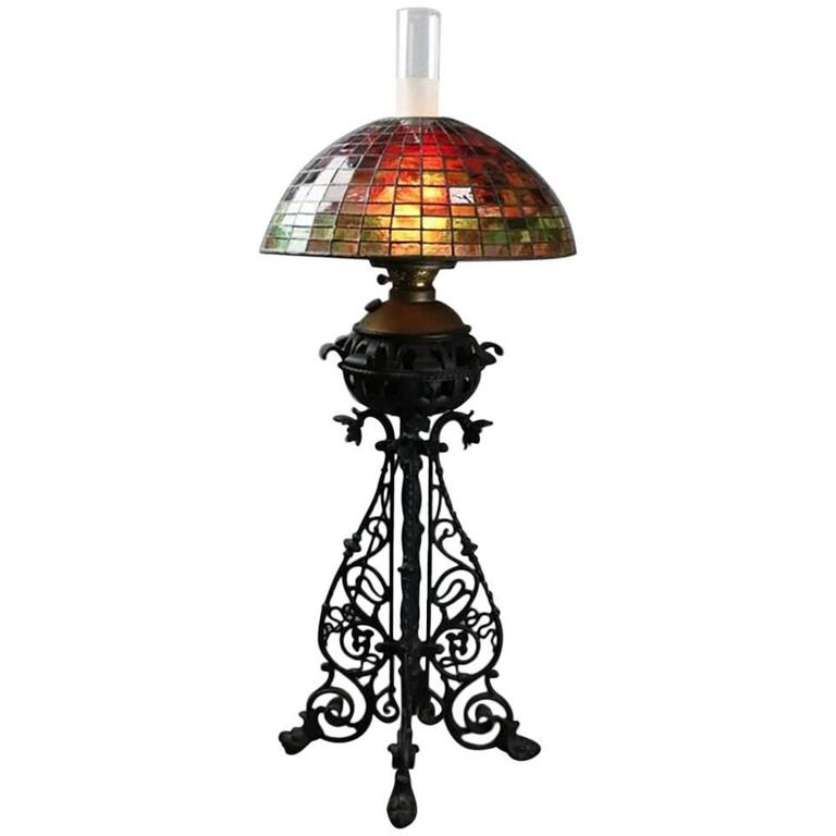 American 1910 Bradley and Hubbard Style Leaded Glass and Iron Table Lamp | Antique Revival Ithaca, Watkins Glen, Corning, NY