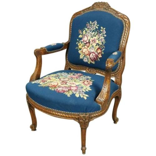 French 1900's Hand Carved Fruitwood Cabriolet Floral Tapestry Armchair | Antique Revival Ithaca, Watkins Glen, Corning, NY