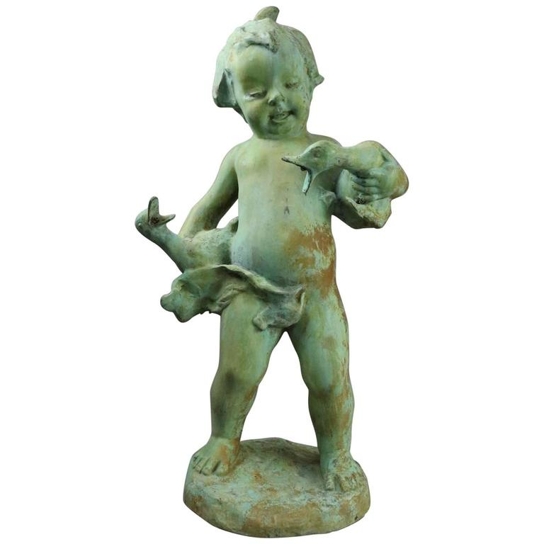 French 1880's Cast Metal Garden Verdigris Fountain Head | Antique Revival Ithaca, Watkins Glen, Corning, NY