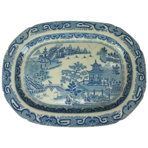 English 1840's Herculaneum Chinoiserie Porcelain Platter | Antique Revival Ithaca, Watkins Glen, Corning, NY
