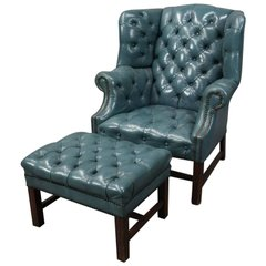 English 1960's Hepplewhite Style Leather Chesterfield Wingback Chair & Ottoman | Antique Revival Ithaca, Watkins Glen, Corning, NY