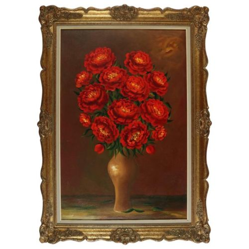 Oil on Canvas Roses signed - COA
