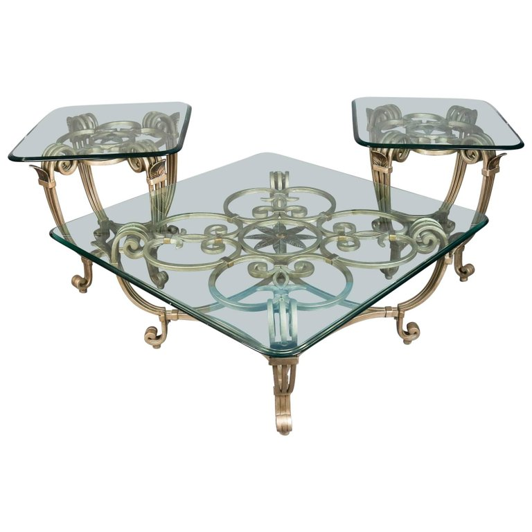 glass top scroll gold gilt wrought iron coffee cocktail side stands end sofa fleur de lis french