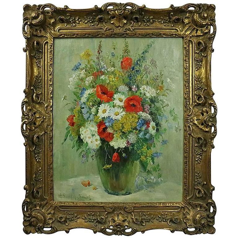 A. Sumlich Kempt 1950's Oil on Canvas Floral Still Life | Antique Revival Ithaca, Watkins Glen, Corning, NY