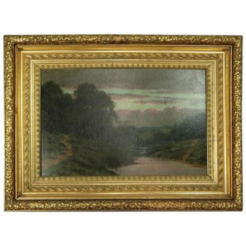 1880's Oil on Canvas Painting of the Hudson River | Antique Revival Ithaca, Watkins Glen, Corning, NY