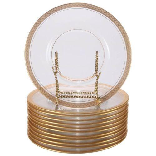 glass gold leaf plate set olive branch