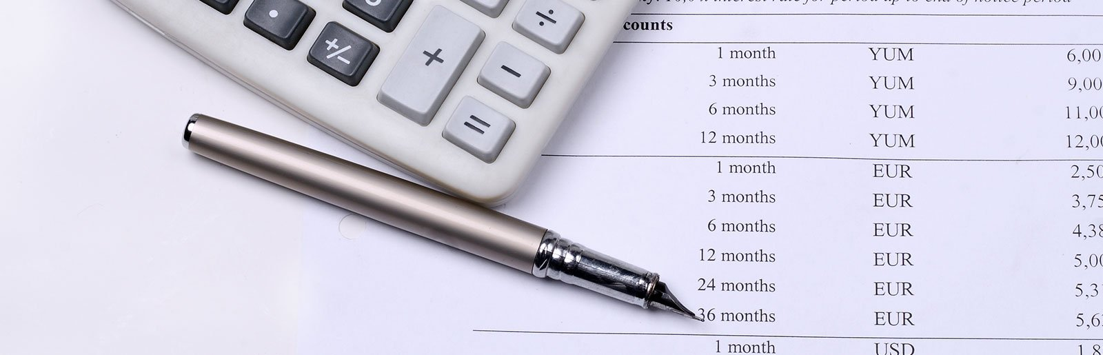 calculator  and pen with white paper